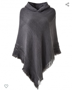 Hooded poncho for staying warm